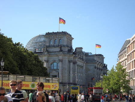 View of Reichstag from the Brandenburg Gate.
