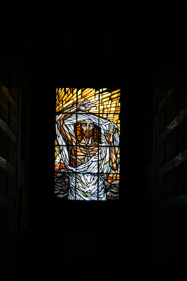 Stained glass window in the crypt of the incomplete Cathedral.  Crypts are the first level of construction and is the foundation structure to the Cathedral.