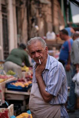 Fruit stall seller.