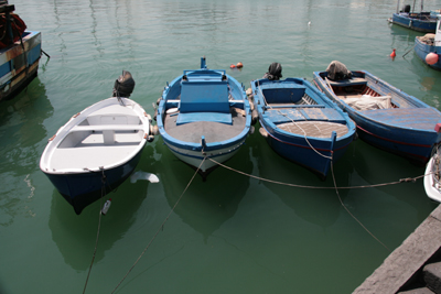Little fishing boats.