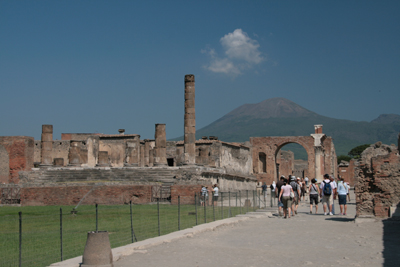 Roman forum with Mt Vesuvius overlooking the ancient city of Pompeii.