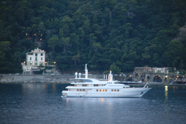 Very expensive looking yacht moored off Portofino.
