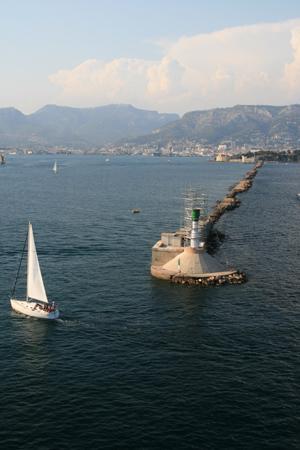 Sailing around the sea wall.