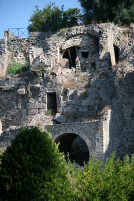 Walled fortifications and old archways, taken just outside the city of Pompeii.